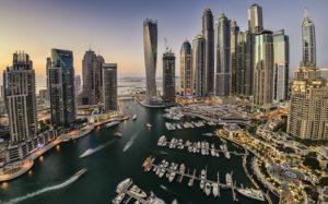 Dubai Marina in the evening